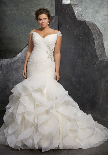 mori lee 3237 kori off the shoulder trumpet style plus size bridal dress 01 288
