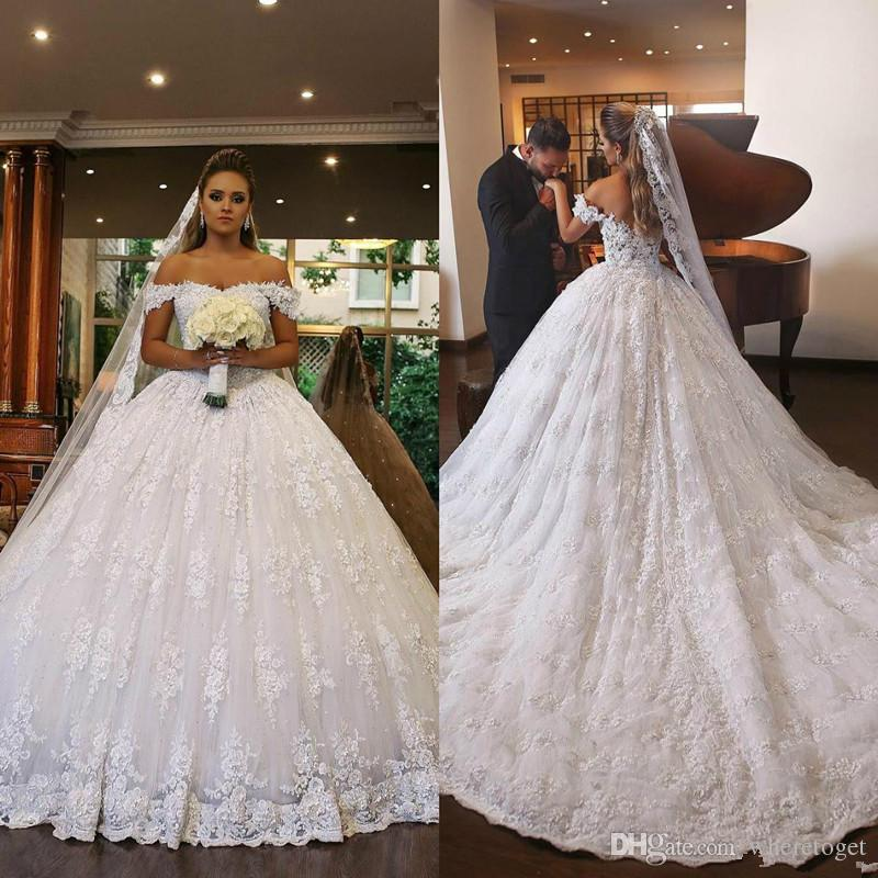 Plus Size Bling Wedding Dresses Awesome 2019 White Princess Wedding Dresses F Shoulder Lace Beads Sweep Train Bridal Ball Gowns Plus Size Chapel Vestido De Novia Sparkly Wedding Dresses