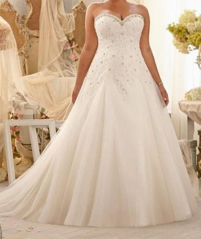 Plus Size Bling Wedding Dresses Beautiful Vintage Lace and Tulle Wedding Dress at Bling Brides Bouquet