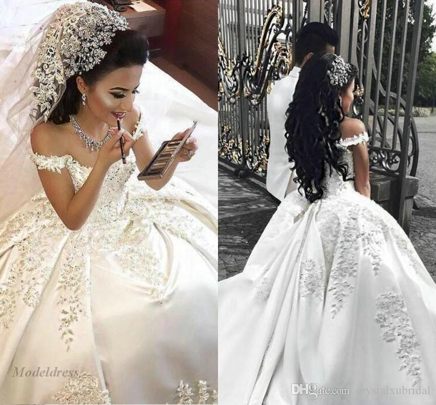 Plus Size Bling Wedding Dresses Best Of 2018 New Arabic Ball Gown Wedding Dresses F Shoulder Illusion Lace Applique Crystal Beaded Satin Long Plus Size formal Bridal Gowns Wedding Dresses