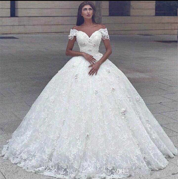 Plus Size Bling Wedding Dresses New 2020 New Modern Arabic Ball Gown Wedding Dresses F Shoulder Lace 3d Appliques Beaded Princess Floor Length Puffy Plus Size Bridal Gowns White Ball