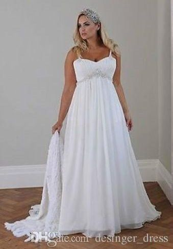 Plus Size Casual Wedding Dresses Unique 2018 Casual Beach Plus Size Wedding Dresses Spaghetti Straps Beaded Chiffon Floor Length Empire Waist Elegant Bridal Gowns