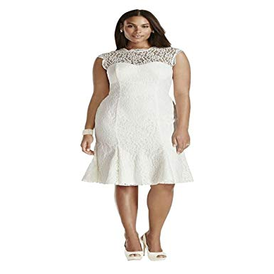 Plus Size Cocktail Dresses for Wedding Luxury Yilian Lace Cap Sleeve Plus Size Short Wedding Dress at