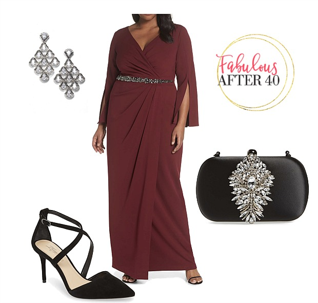 Plus size MOB gown Wine