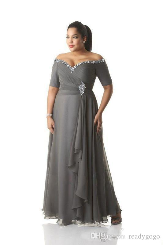 Plus Size Grey Dresses for Wedding Unique Plus Size Grey Mother Of the Bride Dresses with Sleeve 2019 F Shoulder Crystal Beaded Long Mother Groom Prom Party Dresses Wear