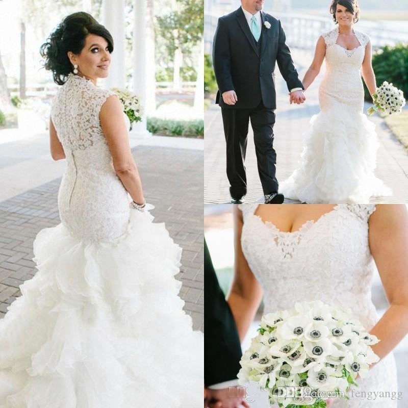 Plus Size Lace Mermaid Wedding Dresses Fresh 2019 Lace Plus Size Wedding Dresses Cap Sleeve button Covered Back Modest Mermaid Bridal Gowns Ruffle Tiers organza Skirt Wedding Gowns