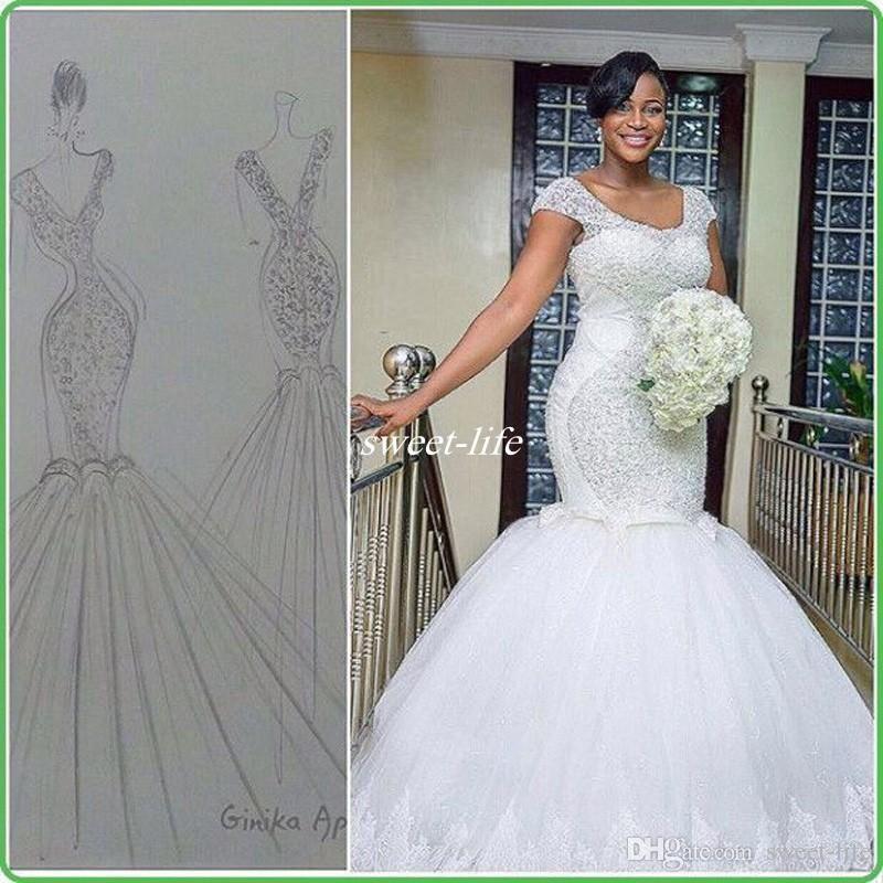 Plus Size Lace Mermaid Wedding Dresses Inspirational Plus Size White Mermaid Wedding Sparking Beading Cap Sleeves