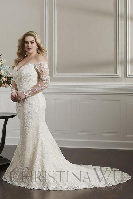 Plus Size Lace Mermaid Wedding Dresses Lovely Christina Wu Long Sleeve Plus Size Wedding Gown
