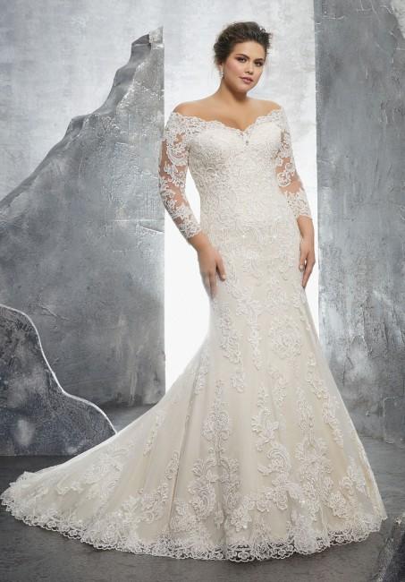 Plus Size Lace Mermaid Wedding Dresses Luxury Mori Lee Kameron Style 3231 Dress Madamebridal