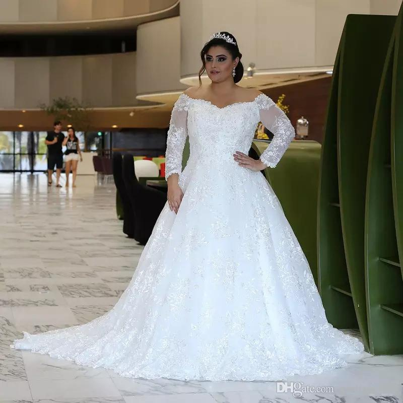 Plus Size Lace Wedding Dresses with Sleeves New Discount Long Sleeves Lace Wedding Dresses Plus Size with Beaded Appliques F Shoulder Sweep Train Tulled A Line Wedding Bridal Gowns A Line Dresses