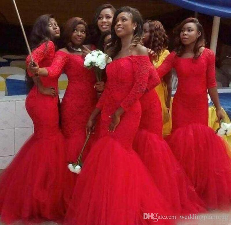 Plus Size Red Wedding Dresses New Plus Size Long Sleeve Lace Mermaid Bridesmaid Dresses Red Tulle Arabic Party Maid Honor evening Gowns for Wedding Guest 2017 Inexpensive
