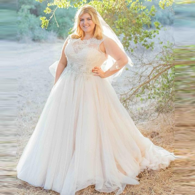 2016 Plus size Wedding Dresses Elegant Lace Tulle Wedding Gowns Sheer O Neck Sweep Train Tulle 640x640