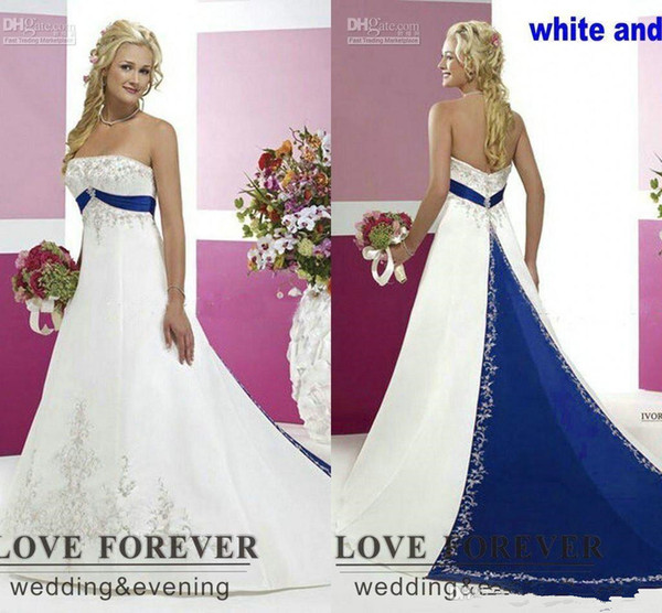 Plus Size Silver Wedding Dresses Luxury Discount 2018 Vintage Country Plus Size Wedding Dresses Silver Embroidery Satin White and Royal Blue Lace Up Two tone Bridal Gowns Cheap Halter A