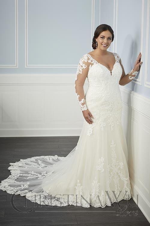 christina wu illusion long sleeve plus size bridal dress 01 656