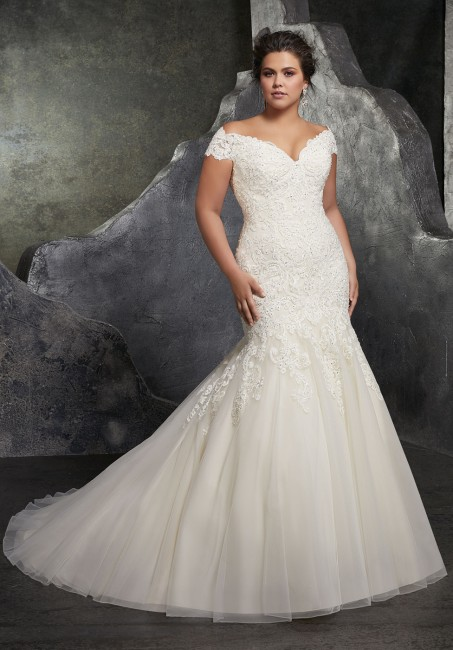 mori lee 3234 kariana off the shoulder trumpet plus size wedding gown 01 288