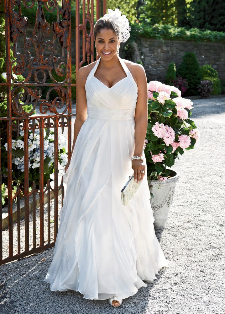 Plus Size Wedding Dresses for Sale Luxury soft Chiffon A Line Gown with Ruffled Skirt Style 9pk3218 by
