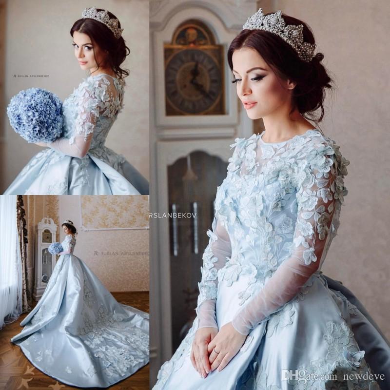 3d floral appliques ball gown wedding dresses