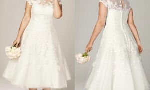 28 Lovely Plus Size Wedding Dresses with Sleeves Tea Length