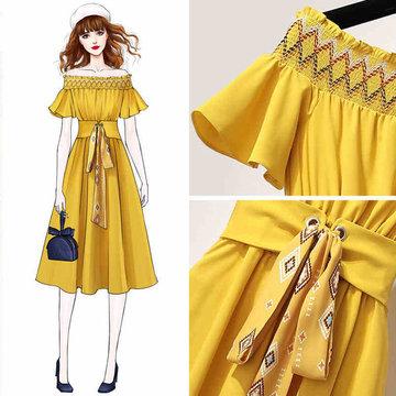 Popular Dresses Fresh E Shoulder Dress Popular Day French Style Retro Skirt Yamamoto First Love Chiffon Long Skirt Super Sensen