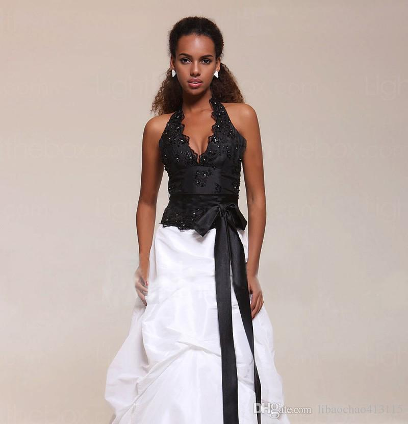 Popular Dresses Lovely 2018 New Designer Halter A Line Home Ing Dress Popular Bridesmaid Black and White even Dress Bridal Party Dress Prom Gown