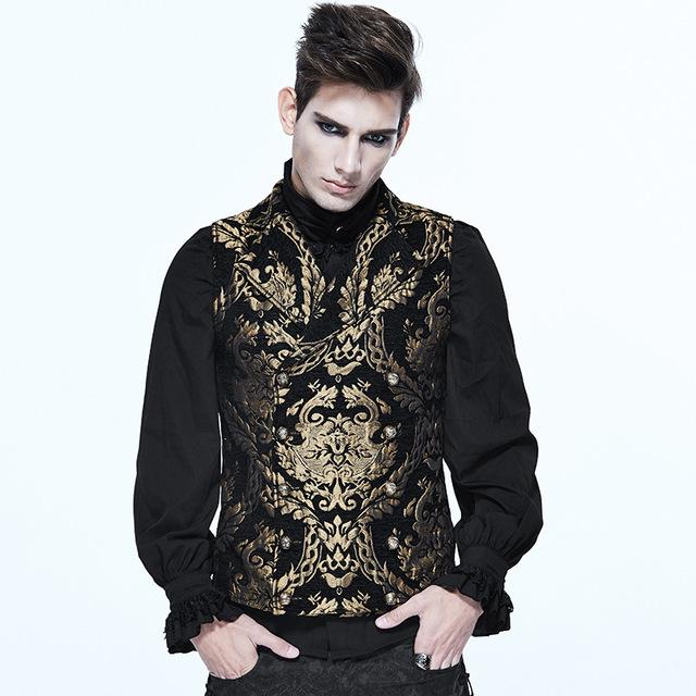 Best Popular Steampunk Gothic Embroidered Waistcoat Mens Vest Punk Sleeveless V Collar Vest Vintage Palace Style Fancy Patterns Waistcoats 0d1I ztx0