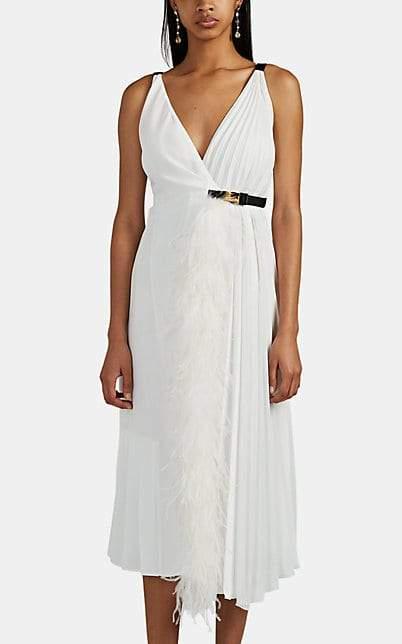 Prada Women s Feather Trimmed Pleated Wrap Dress White