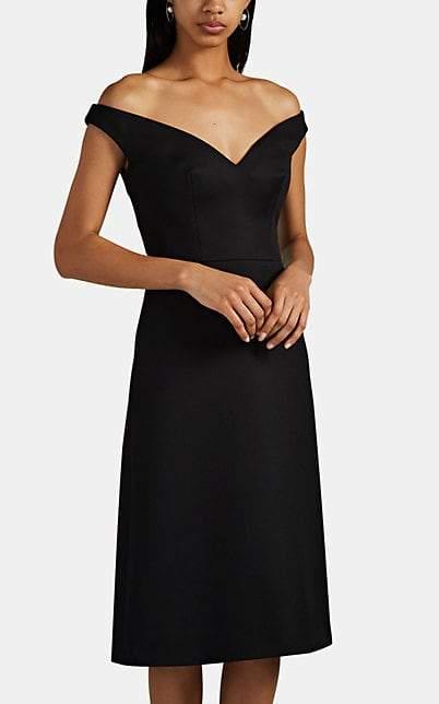 Prada Women s f The Shoulder Wool Gabardine Dress Black