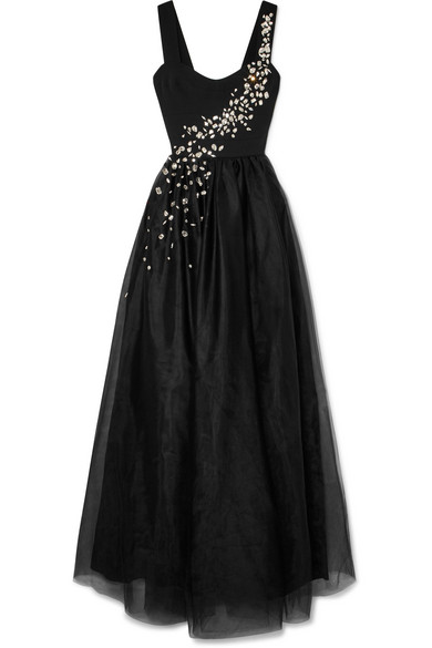 Prada Gowns Elegant Prada Crystal Embellished Silk and Tulle Gown Black