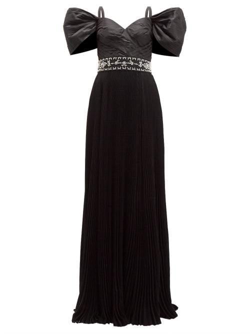 Prada Crystal Embellished Pleated Silk Taffeta Gown Womens Black Multi