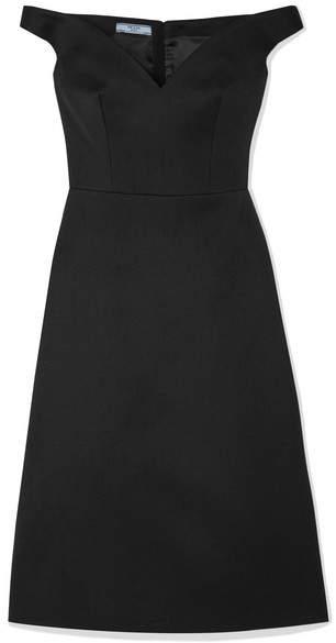 Prada f the shoulder Wool Dress Black