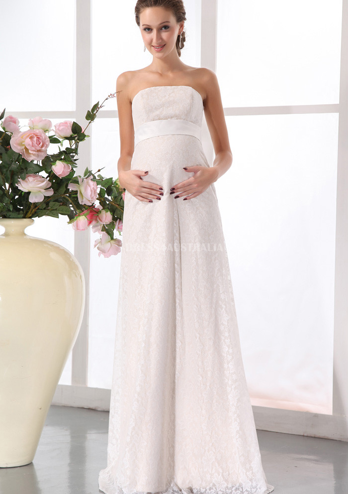strapless floor length maternity wedding dresses pregnant bridal gowns