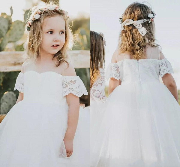 Pretty Dresses for Wedding Unique 2019 Pretty Lace Tulle Flower Girls Dresses White F the Shoulder Ball Gowns Holy First Munion Dresses Country Wedding Party Girls Gowns Mother