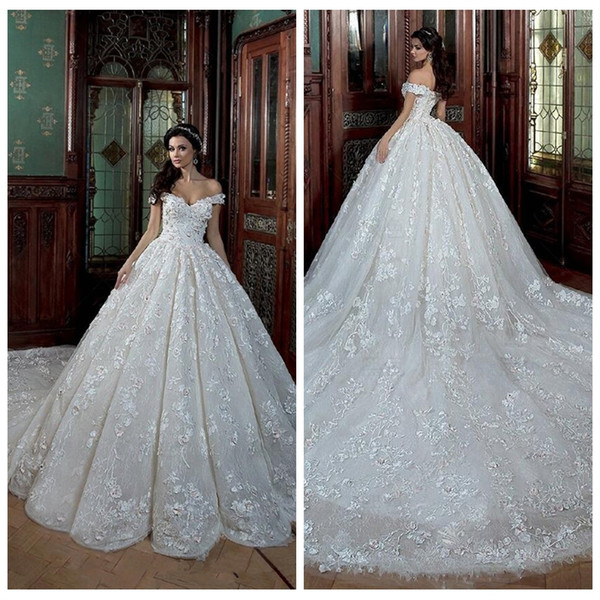 Princes Wedding Dresses Best Of Discount Princess F Shoulder Lace Wedding Dresses 2019 Pleated Chapel Train with 3d Flowers Adorned Bridal Gowns Garden Beaded formal Vestidos