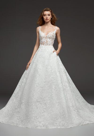 pronovias illusion beaded lace v neck bodice ball gown lace wedding dress 400x580