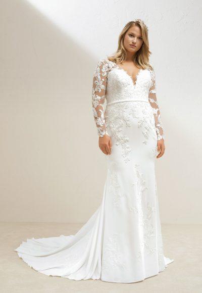pronovias long sleeve crepe sheath wedding dress 400x580