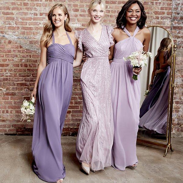 F Purple Mix Weddington Way and Adrianna Papell Bridesmaid Dresses
