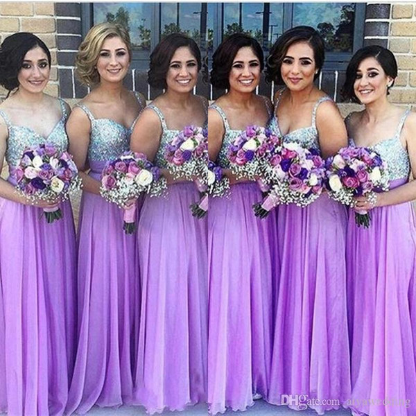 Purple Wedding Guest Dresses Awesome Light Purple Bridesmaid Dresses 2019 A Line Spaghetti Beaded Sequined Chiffon Wedding Guest Dress Long Pleats Zipper Cheap Party Gowns Red Bridesmaids