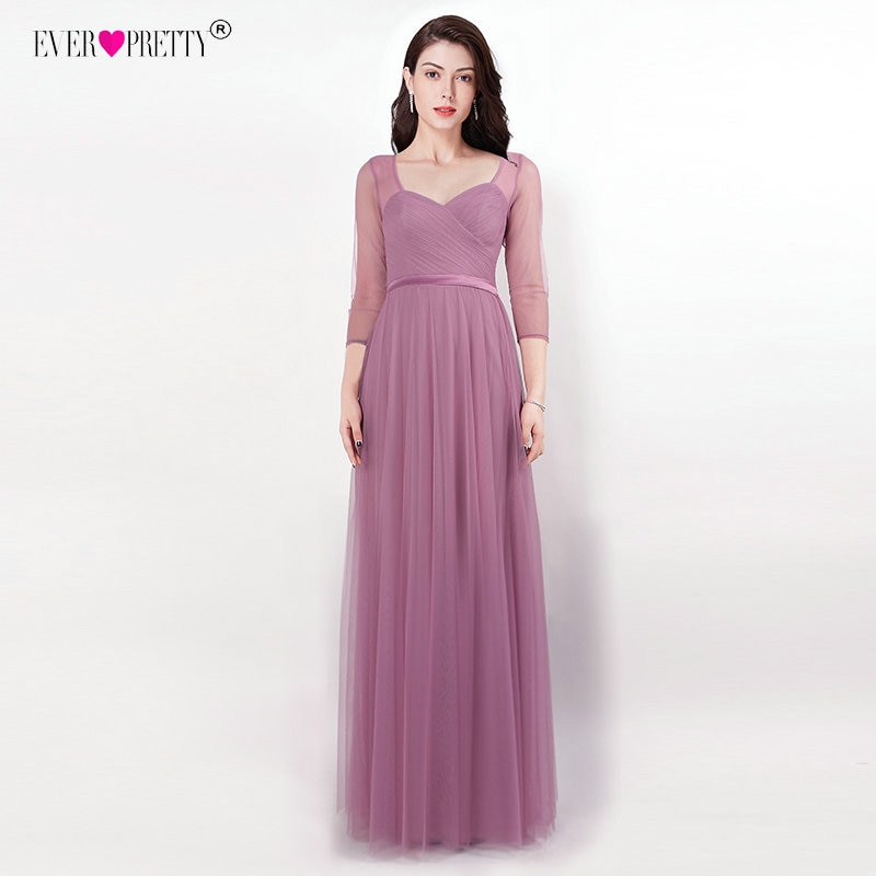 Purple Wedding Guest Dresses New Ever Pretty Bridesmaid Dresses Sweetheart 3 4 Sleeve Vestido