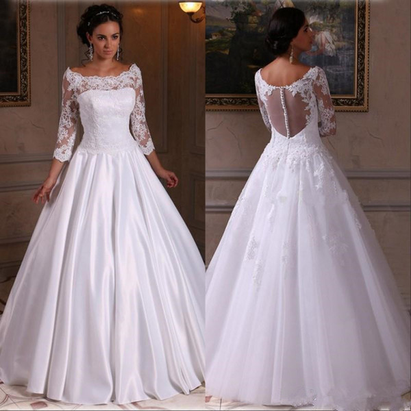 Quarter Sleeve Wedding Dresses Beautiful 3 4 Sleeves Ball Gown Wedding Dresses Satin Long Lace Appliques Bridal Gowns Illusion Back Vestido De Novias Knee Length Wedding Dresses Lace Sleeve