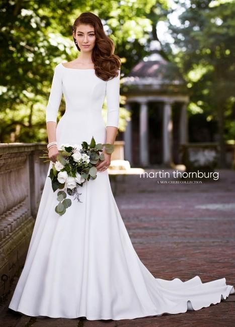 martin thornburg naomi three quarter sleeve wedding gown 01 562