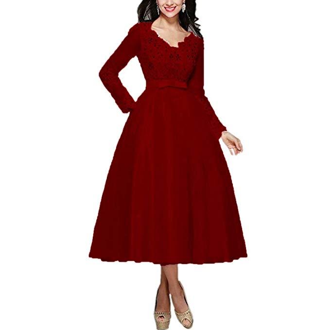 Red Dresses for Wedding Guests Beautiful Elegant Appliques Tea Length Wedding Guest Dress Long