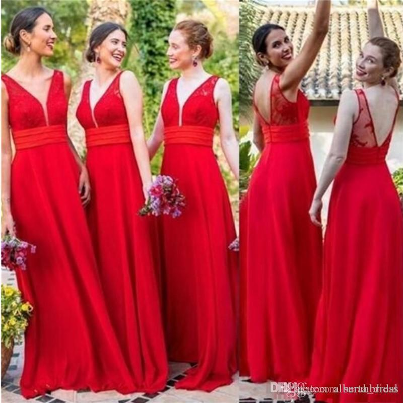 Red Dresses for Wedding Guests Lovely 2019 Red Chiffon V Neck Bridesmaid Dresses Cheap Backless Y Wedding Guest Dresses Long Floor A Line Party Prom formal Gowns