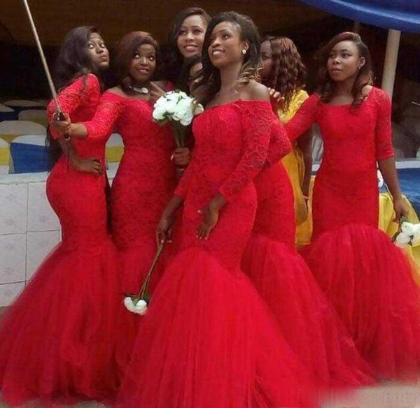 Red Dresses for Wedding Guests Lovely Plus Size Long Sleeve Lace Mermaid Bridesmaid Dresses Red Tulle Arabic Party Maid Honor evening Gowns for Wedding Guest 2017 Inexpensive