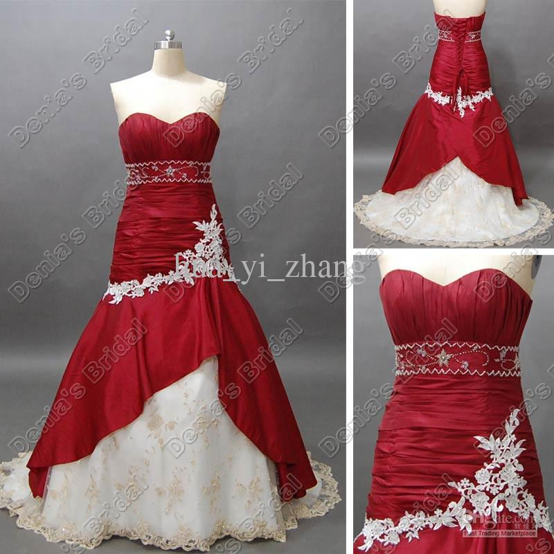 red and white wedding gowns beautiful kupuj line wyprzedaowe mermaid white and red wedding dress od with