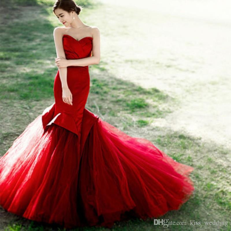 dark red mermaid wedding dresses sweetheart