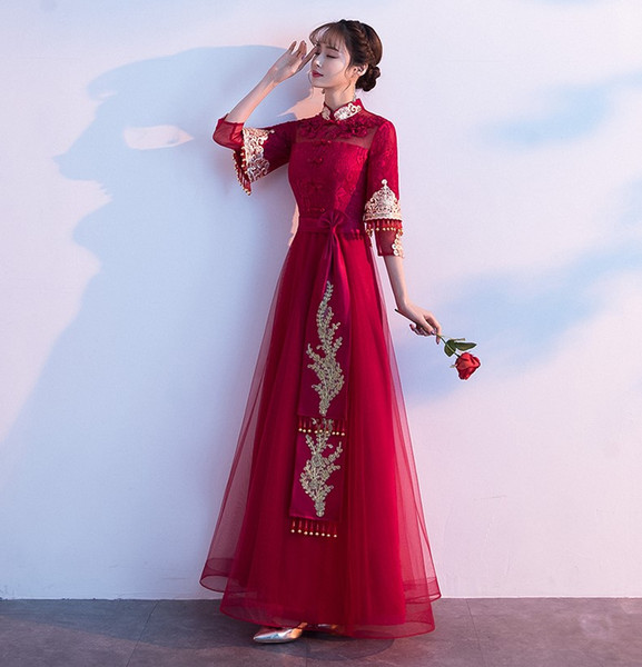 Red Wedding Dresses Meaning Lovely Wine Service Bride Chinese Red Cheongsam In Spring 2019 Long Chinese Style Wedding Dress Xiuhe Dress In Summer Ship Wedding Dress Shop for Wedding