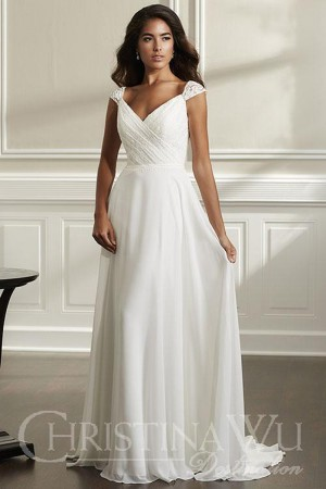 christina wu b cap sleeve wedding gown 01 545