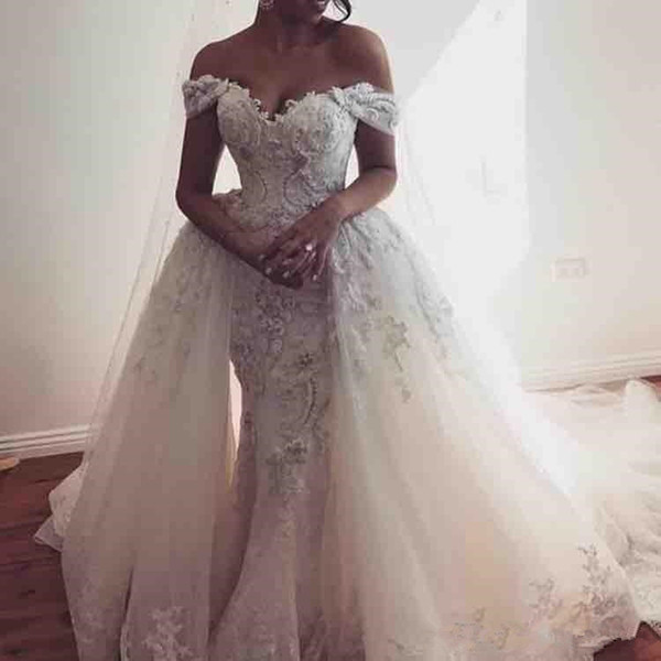 Rental Wedding Dresses Beautiful Discount Overskirts Wedding Dresses F the Shoulder Lace Appliques Tulle Wedding Dress with Detachable Train formal Wear Country Bridal Gowns Wedding