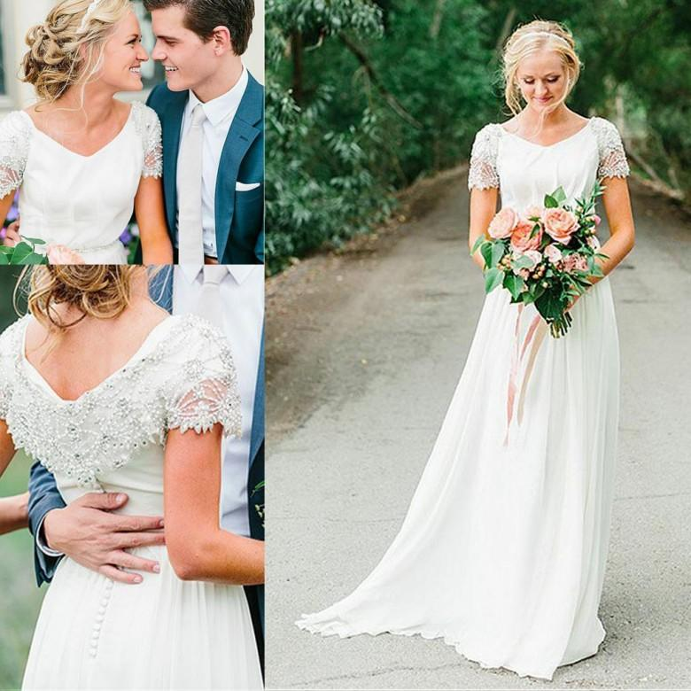 2018 boho wedding dresses a line short sleeves