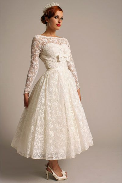 Retro Wedding Dress Fresh Ea13 Elizabeth Avery 1950s All Lace Sweetheart Tea Length